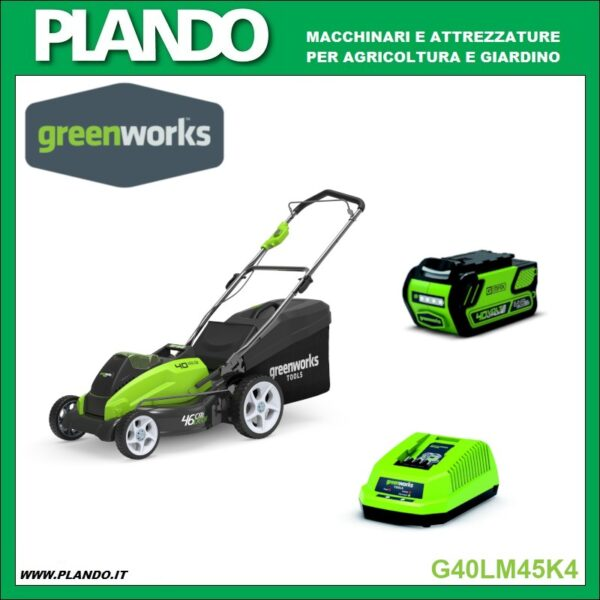 Greenworks RASAERBA A BATTERIA 40V 45cm CON BATTERIA 4Ah e CARICABATTERIE