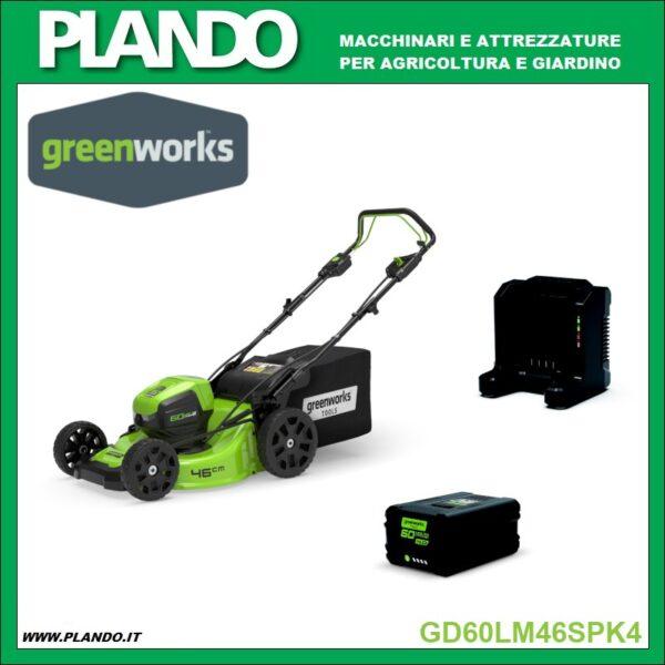 Greenworks RASAERBA A BATTERIA TRAZIONATO 60V 46cm con motore DigiPro CON BATTERIA Ah E CARICABATTERIE