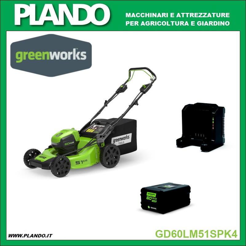 Greenworks RASAERBA A BATTERIA TRAZIONATO 60V 51cm con motore DigiPro CON BATTERIA 4Ah E CARICABATTERIE
