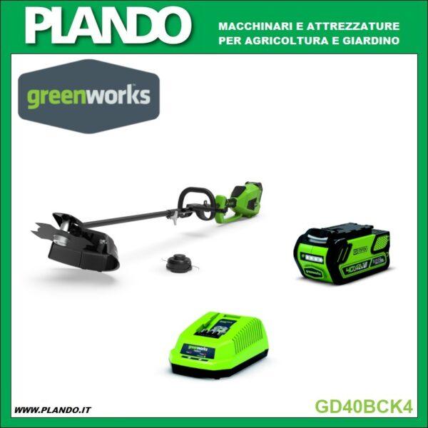 Greenworks DECESPUGLIATORE A BATTERIA CON MOTORE SUPERIORE DIGIPRO 40V CON BATTERIA 4Ah E CARICABATTERIE
