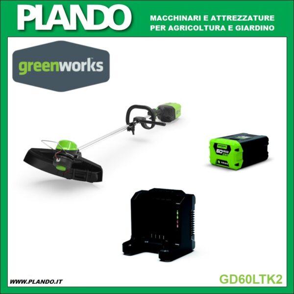 Greenworks DECESPUGLIATORE A BATTERIA CON MOTORE ANTERIORE DIGIPRO 60V CON BATTERIA 2Ah E CARICABATTERIE