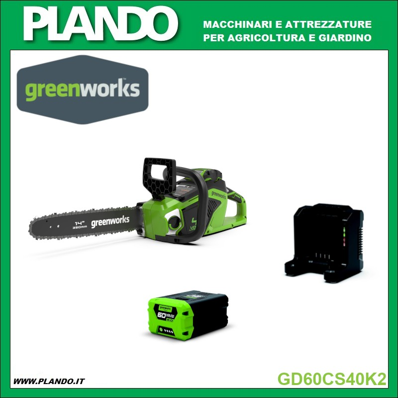 Greenworks MOTOSEGA A BATTERIA 60V 40cm CON MOTORE DIGIPRO CON BATTERIA 2Ah E CARICABATTERIE
