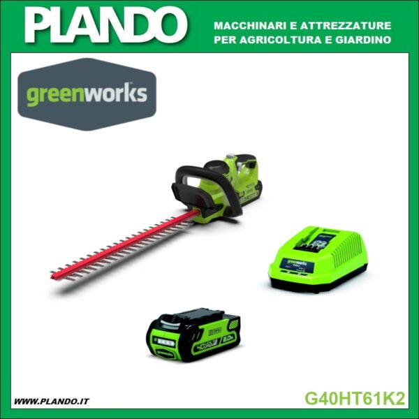 Greenworks TAGLIASIEPI A BATTERIA 40V 61cm CON BATTERIA 2Ah E CARICABATTERIE