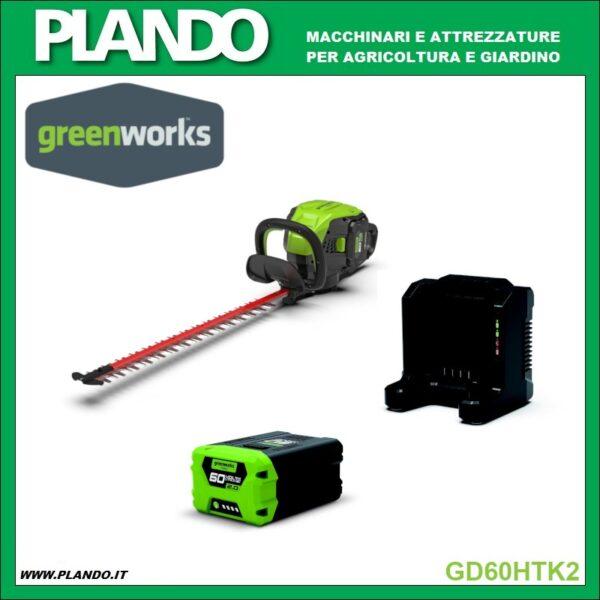 Greenworks TAGLIASIEPI A BATTERIA 60V 61cm con motore DigiPro CON BATTERIA E CARICABATTERIE