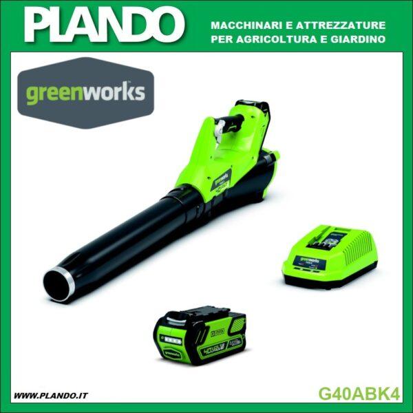 Greenworks SOFFIATORE ASSIALE A BATTERIA 40V CON BATTERIA 4Ah E CARICABATTERIE