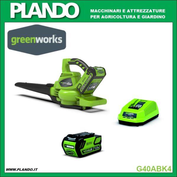 Greenworks SOFFIATORE/ASPIRATORE A BATTERIA 40V con motore DigiPro CON BATTERIA 4Ah E CARICABATTERIE