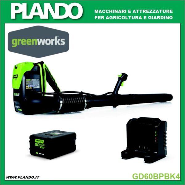 Greenworks SOFFIATORE SPALLEGGIATO A BATTERIA 60V CON BATTERIA 4Ah E CARICABATTERIE