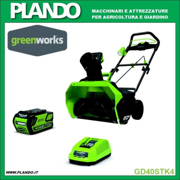 Greenworks SPAZZANEVE A BATTERIA 40V CON BATTERIA 4Ah E CARICABATTERIE